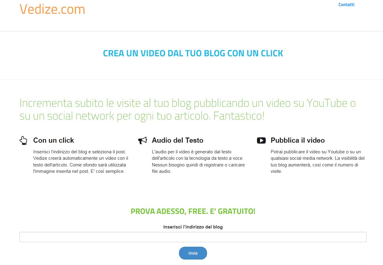 vedize.com - crea un video per il tuo blog gratis